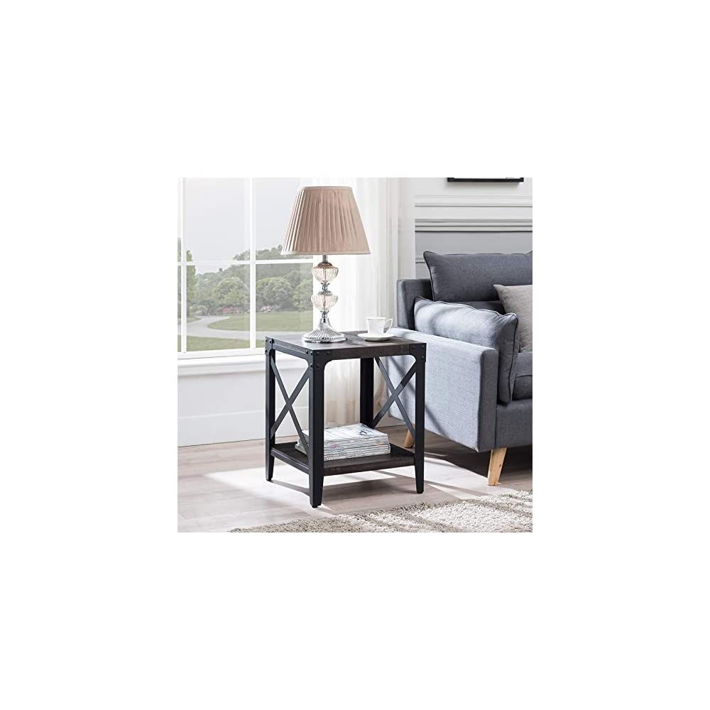 OKD End Table, Industrial 2-Tier Side Table with Storage Shelf, Versatile Nightstands for Living Room, Farmhouse Wood…