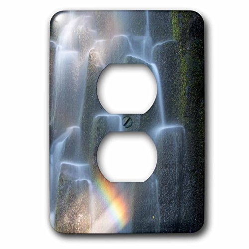 Rainbow Over Waterfall (3D Rose lsp_251343_6 Oregon, Proxy Falls. Waterfall Rainbow Over Basalt Columns. 2 Plug Outlet Cover)