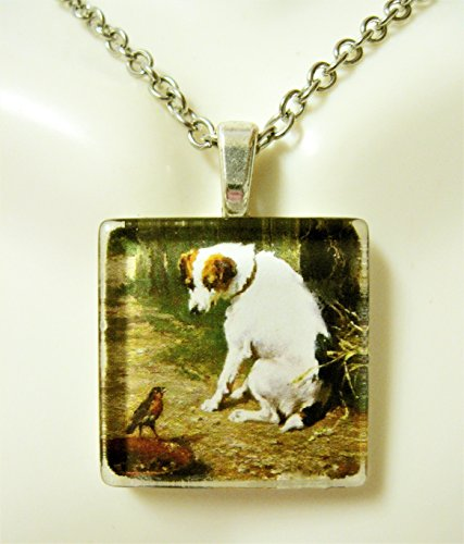 Russell Necklace Jack (Bird visiting a Jack Russell Terrier pendant and chain - DGP01-238)