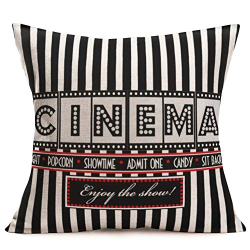Smilyard Cinema Decor Decorative Pillow Covers Movie Theater Cotton Linen Throw Pillow Covers Square Black and White Cushion Cover Outdoor Home Decor for Men Women 18x18 Inch (Cinema 04) (Decorative Pillows Theater)