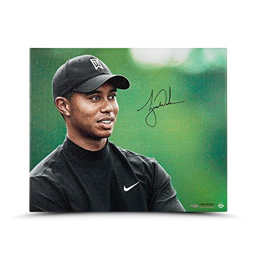 TIGER WOODS Autographed Up Close & Personal 20 x 24 Canvas UDA (Tour Hat Golf Pga)
