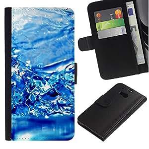 Planetar® Modelo colorido cuero carpeta tirón caso cubierta piel Holster Funda protección Para HTC One M8 ( Water Effect Blue )
