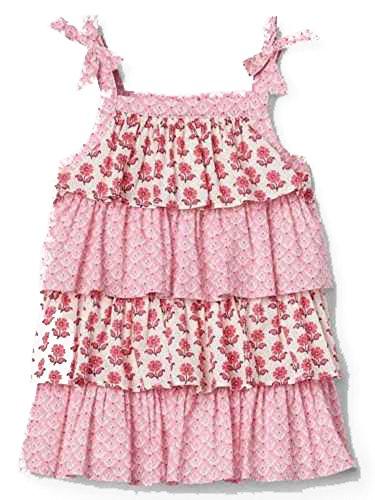 Baby Gap Girls Pink Floral Tier Bow Sun Dress 0-3 Months