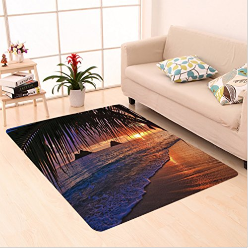 Nalahome Custom carpet Decorations Pacific Sunrise At Lanikai Beach Hawaii Sandy Tropics Distant Hills Leaves Landmark area rugs for Living Dining Room Bedroom Hallway Office Carpet (6.5' X 10') by Nalahome
