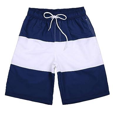 20e1b2d6b3 Mens Swim Trunks Quick Dry Beach Shorts with Pockets for Swimming Bathing  Surfing Running (Dark
