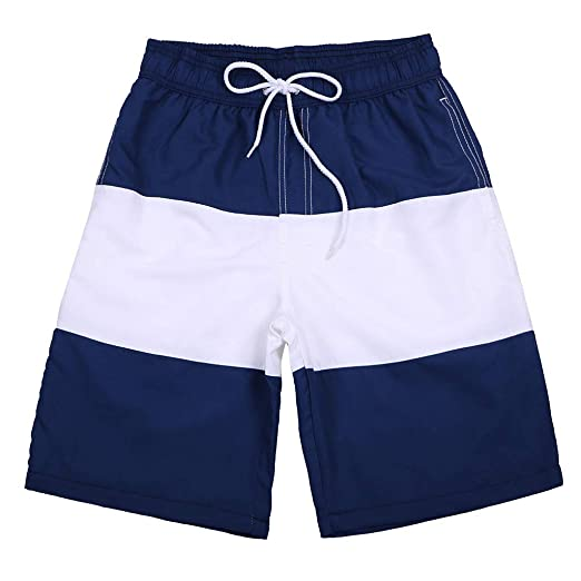47674363c46e9 Men's Swimming Trunk, Men's Striped Swim Trunk with with Lining Mesh  Patchwork Board Shorts Beachwear
