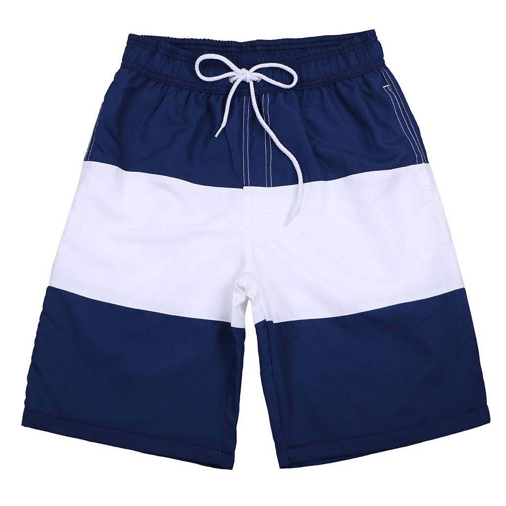 WUAI Mens Swim Trunks Casual Stripe Loose Fit Quick Dry Board Shorts Sportwear(Dark Blue,US Size S = Tag M)