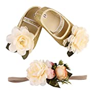 Voberry® Newborn Baby Toddlers Girls Bling Soft Soled Anti-Slip Crib Shoes with Free Hairband (0~6 Month, Gold.1)