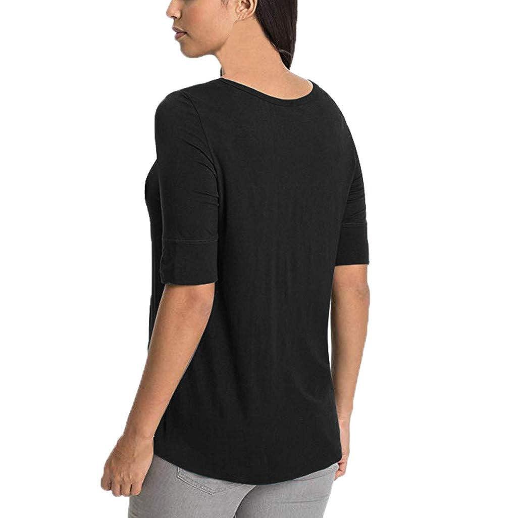 Daringjourney Blusa con Estampado de Mujer Imprimir Camiseta Mujer Arriba Mangas Cortas Chaleco Mujer Acolchado y Pelo
