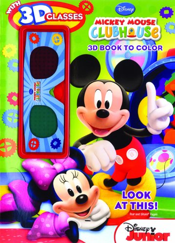 Bendon Publishing Mickey Mouse Clubhouse Look at This 3D Coloring Book (with 3D - Look Glasses Disney