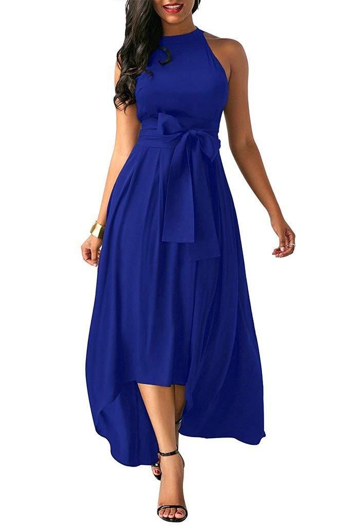 Salimdy Women's Sleeveless Belted Asymmetric Hem High Low Maxi Dress Blue XXL