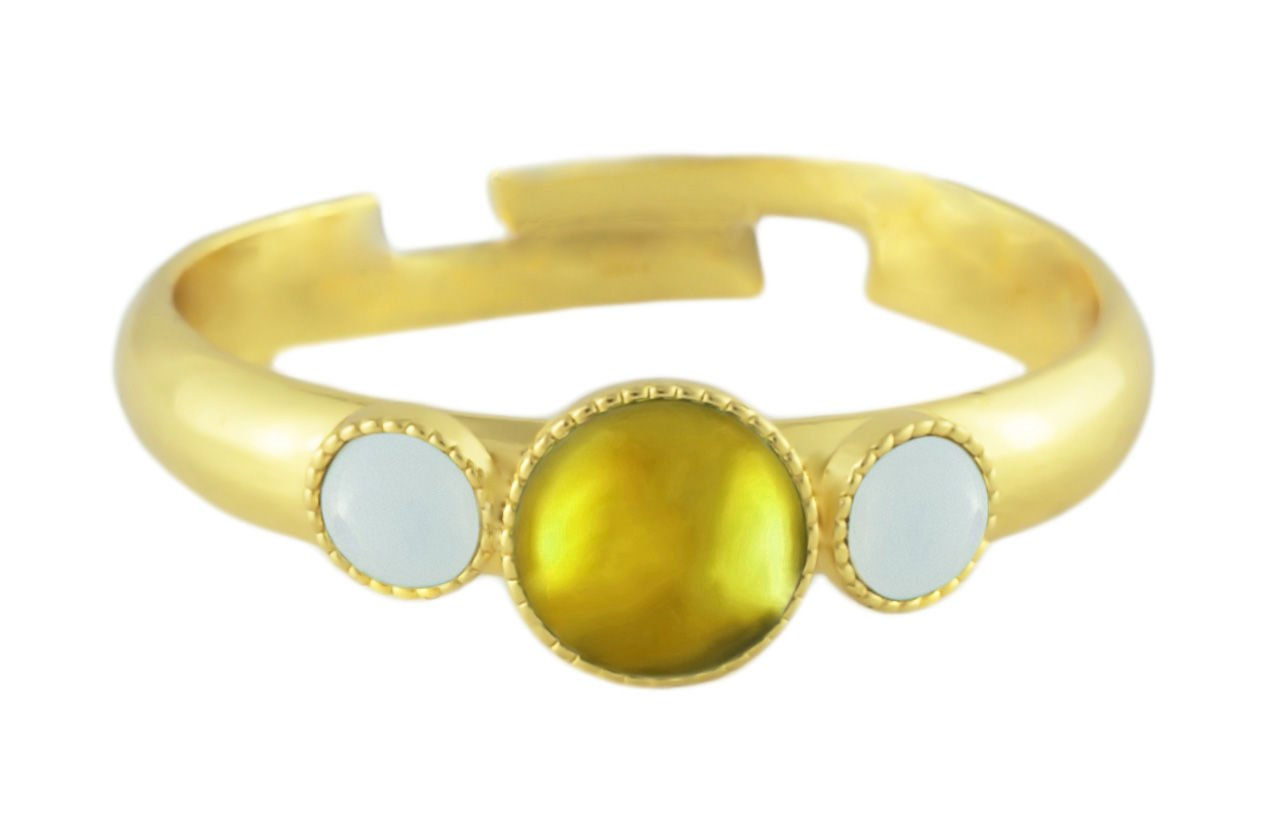 24K Gold Plated Minimalist Ring Adjustable Universal Size Round Trio oOo White Opal Moonstone Czech Glass Stone Yellow Handmade BohemStyle