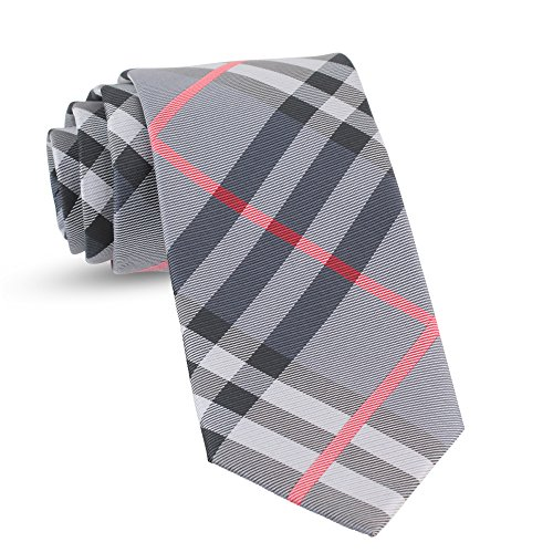 Check Skinny Tie - Handmade Plaid Ties For Men Skinny Woven Check Grey Gray Slim Gingham Mens Ties: Thin Tie & Necktie, Stylish Neckties For Every Outfit