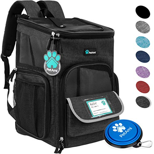Soft-Sided Pet Carrier Backpack for Small Cats and Dogs, Puppies | Ventilated Design, Two-Sided Entry, Safety Features and Cushion Back Support | for Travel, Hiking, Outdoor Use (Charcoal)