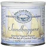 Blue Crab Bay ''Sandbaggers'' - Gourmet Virginia Peanuts with Sea Salt & Cracked Pepper, 12 Oz. Tin (Pack of 2)