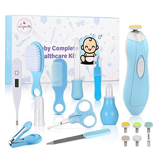 Baby Healthcare and Grooming Kit, with Baby Electric Nail Trimmer Set, Lupantte Nursery Care Kit, Infant Thermometer, Medicine Dispenser, Comb, Brush, Nail Clippers, etc. Perfect Baby Shower Gift.