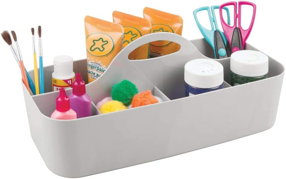 mDesign Plastic Portable Craft Storage Organizer Caddy Tote, Divided Basket Bin with Handle for Craft, Sewing, Art Supplies - Holds Paint Brushes, Colored Pencils, Stickers, Glue, X-Large - Light Gray