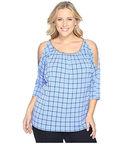 Michael Kors Michael Plus Chain Neck Cold Shoulder Dressage Print Matte Jersey Top, Oxford Blue (Print Matte Jersey Top)