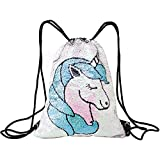 Fandicto Mermaid Sequin Drawstring Bags Unicorn...