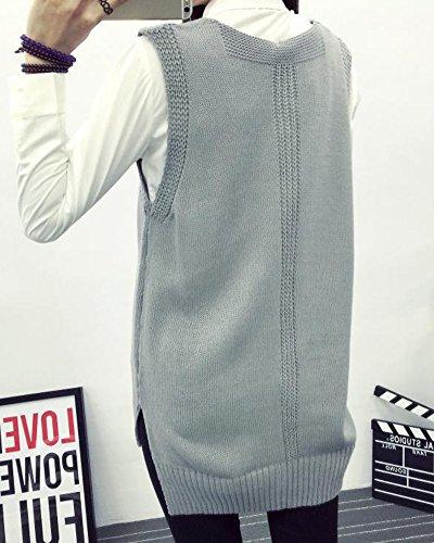 Sweater Gris Col Pull Manche Vrac En V Fille Chandail Femme Tricot Longue W8wqHPcBUw