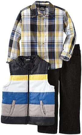 Boys Rock Little Boys' 3 Piece Vest Set with Woven Shirt and Black Denim Pant, Black, 3T