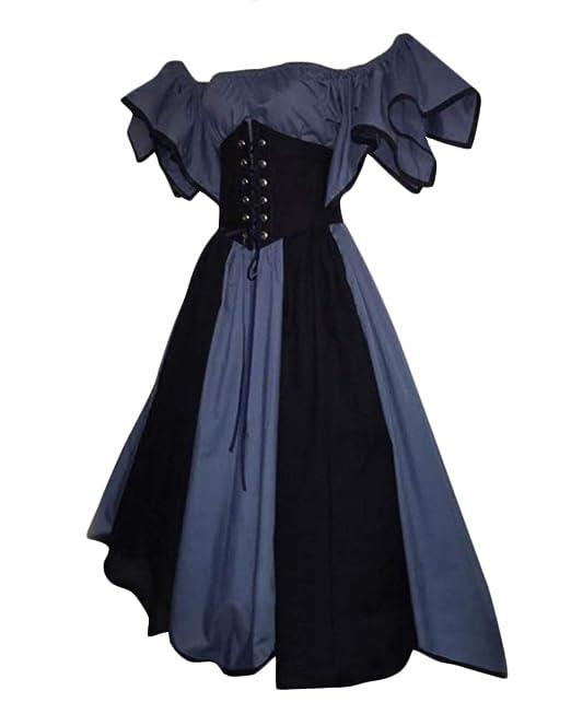 Vestido Victoriano Retro del Renacimiento De Las Mujeres Vestido Superior Rosado del Tubo Vestido De Noche Medieval: Amazon.es: Ropa y accesorios