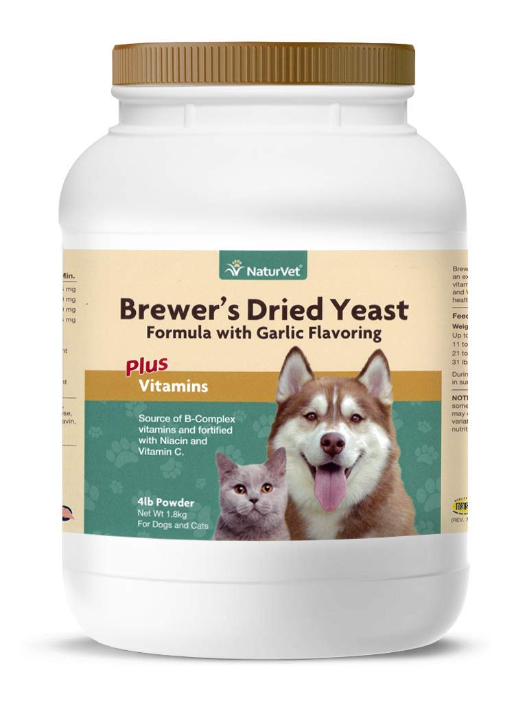 NaturVet Brewer s Dried Yeast Formula with Garlic Flavoring Plus Vitamins Supports Healthy Skin Glossy Coat Fortified with B-1, B-2, Niacin Vitamin C for Dogs Cats