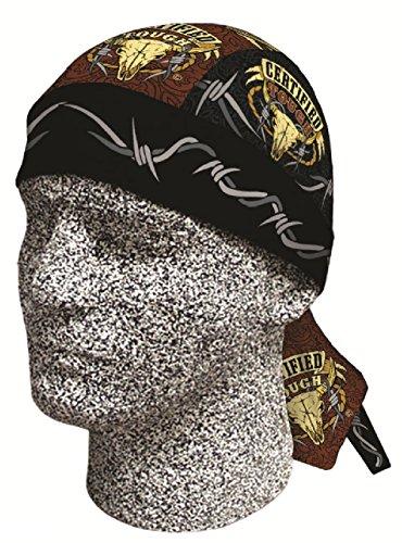 [Certified Tough Longhorn Doo Rag Headwrap Skull Durag Sweatband Capsmith CDL437] (Deluxe Cow Mask)
