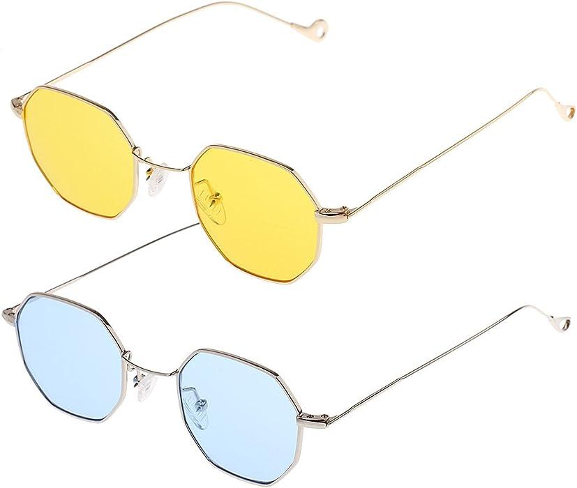 d9a518f2bc8 Baoblaze 2x Fashion Vintage Octagon Sunglasses Unisex Retro Glasses Hippie  Eyeglasses  Amazon.co.uk  Clothing