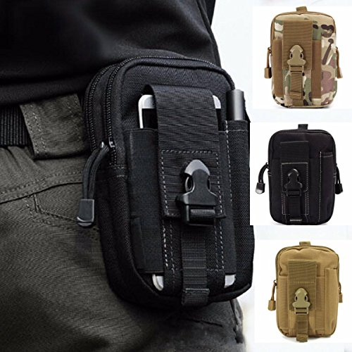 CAMTOA Multi-Purpose Poly Tool Holder EDC Pouch Camo Bag Military Nylon Utility Tactical Waist Pack Camping Hiking Pouch (Black - And 1 Nylon Wallet