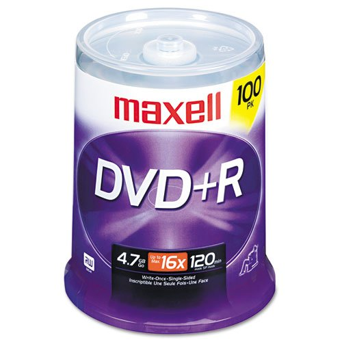 Maxell® - DVD+R Discs, 4.7GB, 16x, Spindle, Silver, 100/Pack - Sold As 1 Pack - Preserve memorable moments and important files.
