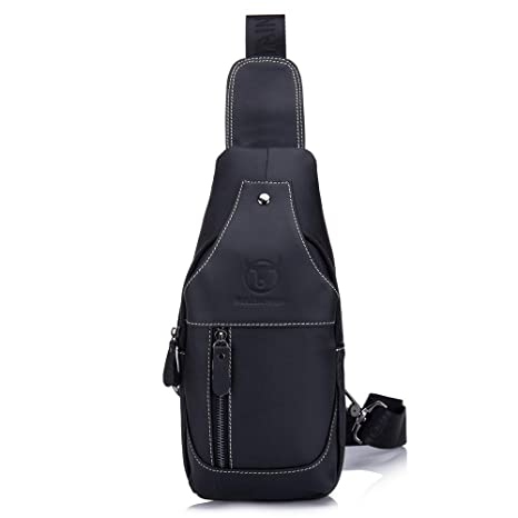 c2778c43d45f Bull Captain Men Sling Bag Cow Leather Vintage Shoulder Backpack Cross Body  Chest Bag for Men