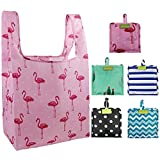 Foldable Reusable Grocery Bags Bulk 5 Cute Designs Folding Shopping Tote Bag Fits in Pocket Eco Friendly Ripstop Nylon Waterproof and Machine Washable Cloth Bags for Groceries Recycle Gift Bags Large
