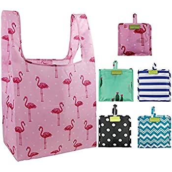 ba25658a9 Foldable Reusable Grocery Bags Bulk 5 Cute Designs Folding Shopping Tote  Bag Fits in Pocket Eco Friendly Ripstop Nylon Waterproof and Machine Washable  Cloth ...