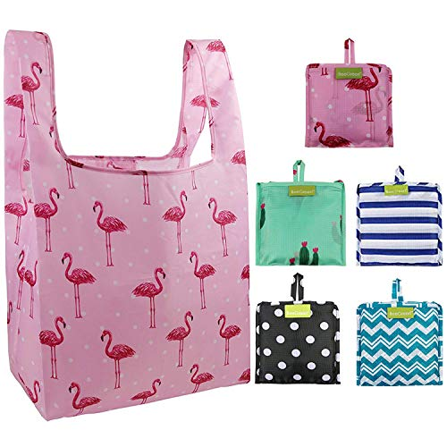 Foldable Reusable Grocery Bags Bulk 5 Cute Designs Folding Shopping Tote Bag Fits in Pocket Eco Friendly Ripstop Nylon Waterproof and Machine Washable Cloth Bags for Groceries Recycle Gift Bags -