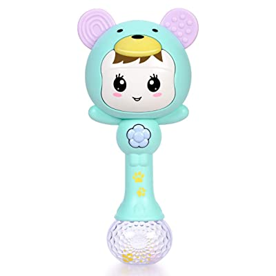 Refasy Baby Gifts for Newborn Girls Boys, Children Rattle Toys 3-6 Months BPA Free Toys for Babies Infants Toddler 1-3 Year Old Light Up Musical Toys for Babies 0-24 Months Best Gifts for Girl Green : Clothing