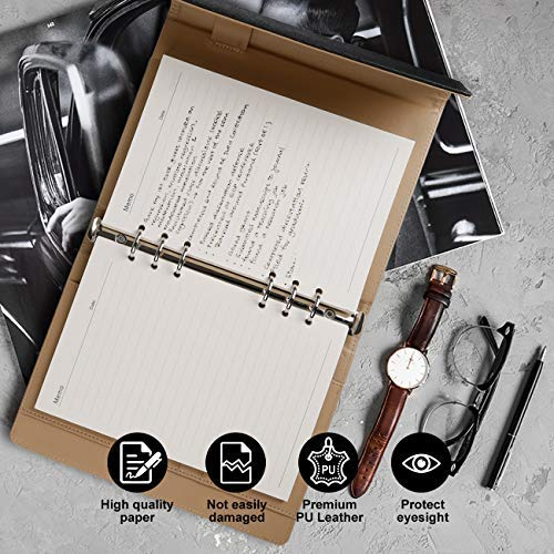 Loose Leaf//Binder Notepad-Fashion PU Leather Cover 100 sheets//200 Pages Gift Box-Black Ruled//Lined with Pocket/&Pen Holder 100gsm Paper RESO Refillable Notebook A5
