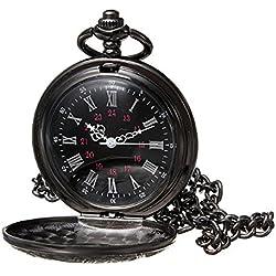 Topwell Black Pocket Watch Roman Pattern Steampunk Retro Vintage Quartz Roman Numerals Pocket Watch