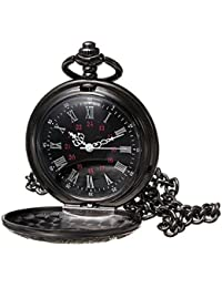 Black Classical Pocket Watch Retro Steampunk Pattern Quartz Numerals Pocket Watch with 14.5 in Chain for Xmas Birthday Fathers Day Gift (A)