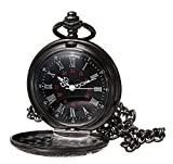 Topwell Black Pocket Watch Roman Pattern Steampunk Retro Vintage Quartz Roman Numerals Pocket Watch