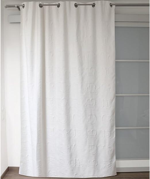 Soleil docre Cortina de piqué de algodón ABC Blanca, con Anillas ...