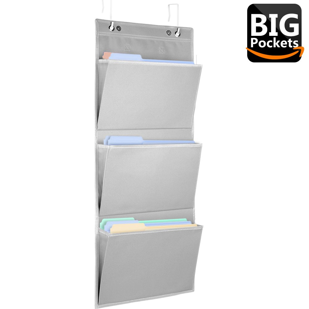 Large Storage Wall Organizer - GOOOA Mail Organizer Wall Mount,Hanging Wall File Organizer,Portable Travel Office Supplies Desk Organizer,Stationery Organizer for Kids - 3 Pockets Gray