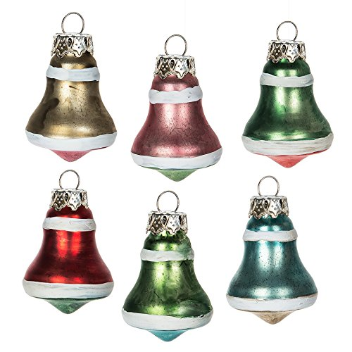 Vintage Glass Bell Ornaments - Vintage Mini Bell Shape Assorted Traditional Glass Christmas Ornament Set of 6