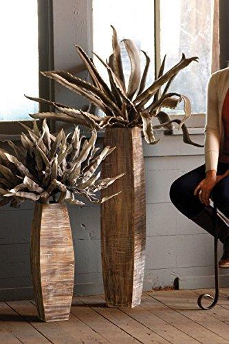 Kalalou Whitewashed Tall Oblong Wooden Vase, Set of 2 Review