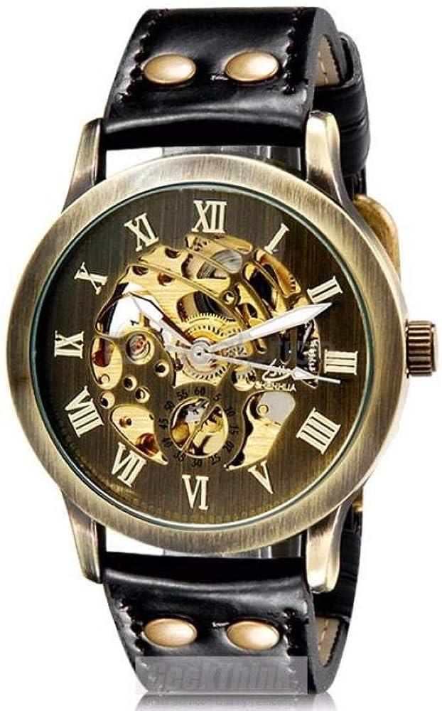 Relojes Relojes Nuevo Relogio Masculino Reloj para Hombre Reloj Mecánico De Esqueleto Reloj De Pulsera De Bronce Vintage Reloj Hombre