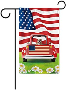 BAGEYOU Retro Red Patriotic Dog Truck Garden Flag English Bulldog Puppy 4th of July Rustic Daisy Decor Banner for Outside 12.5X18 Inch Print Double Sided