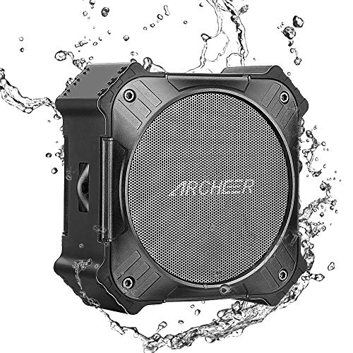 (ARCHEER Solar Power Portable Bluetooth Speaker IPX6 Waterproof Outdoor Speakers with 1/4 Bike Mount Screw Hole and Lanyard, 20hrs Playtime, Enhanced Bass, Built in Mic, Rugged)