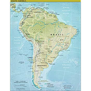 Amazon.com: Map Poster - South America Physical Map 11\