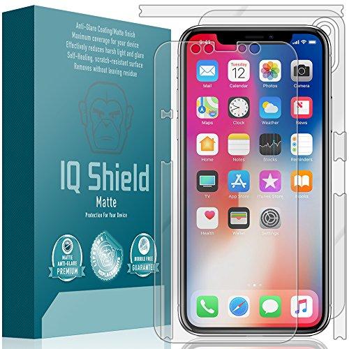 IQ Shield Matte Full Body Skin Compatible with Apple iPhone X + Anti-Glare (Full Coverage) Screen Protector and Anti-Bubble Film