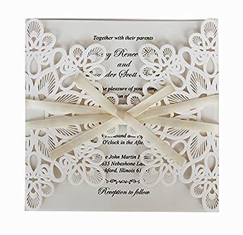 50 Pcs Weiß Vintage Hochzeit Einladung; Weiß Schleife Party Einladung  Karte; Zarte Weiß Spitze